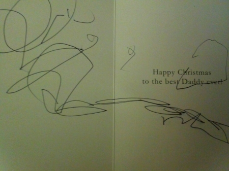 Inside of my card from my son; his first writing!