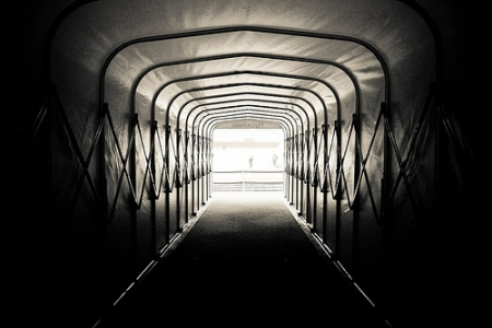 Looking up the tunnel onto the pitch