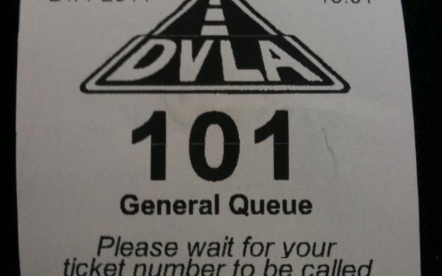 DVLA queue ticket